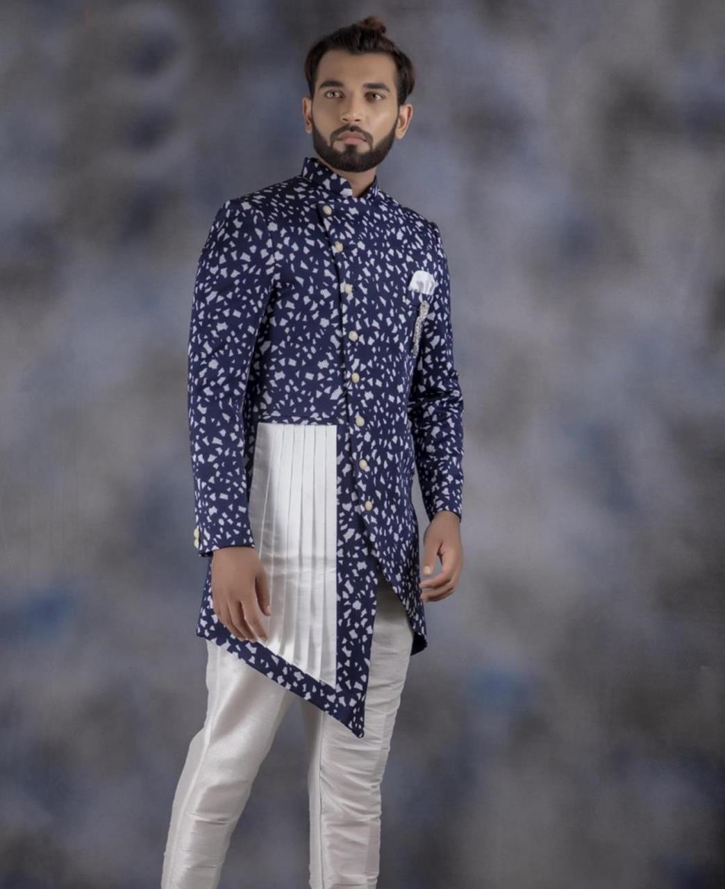 Printed Cotton Navyblue Kurta Pajama