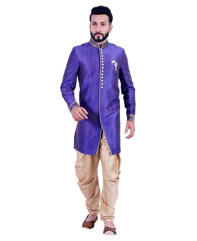 Lace Art Silk Blue Mens Sherwani