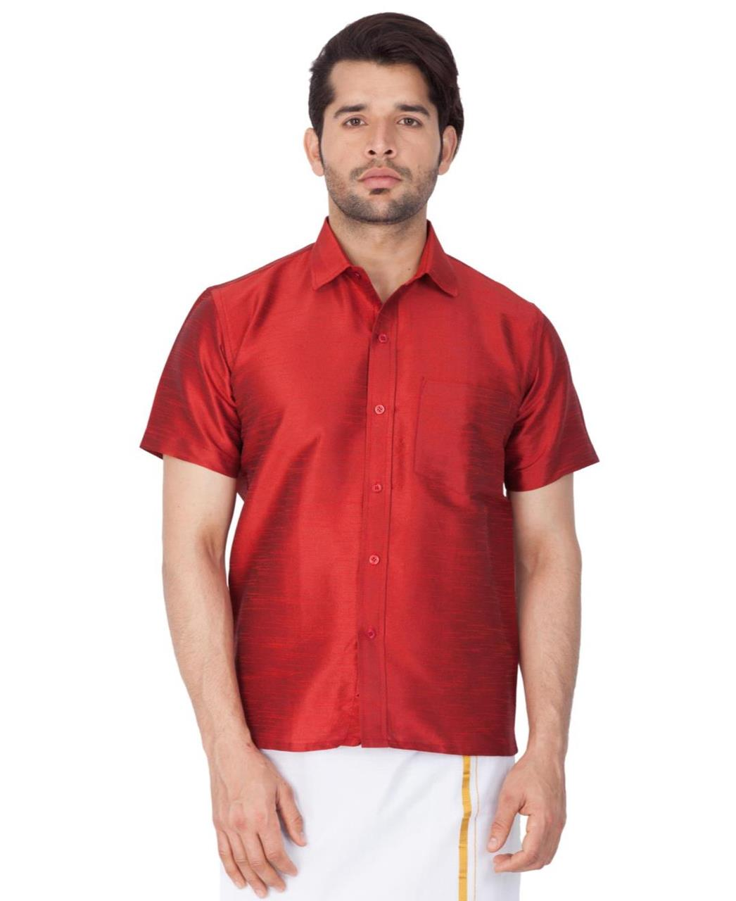 Plain Cotton Maroon Dhoti