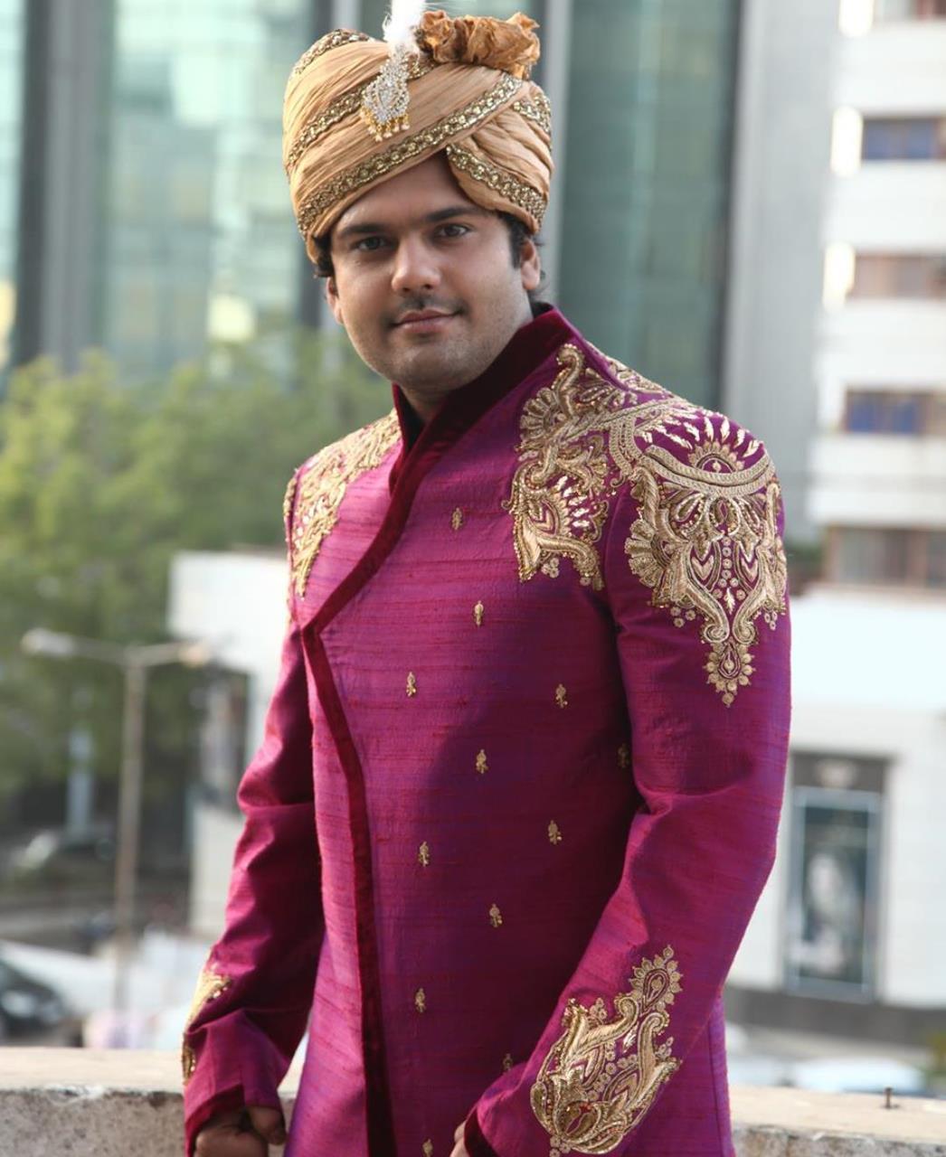 Embroidered Silk Purple Sherwani