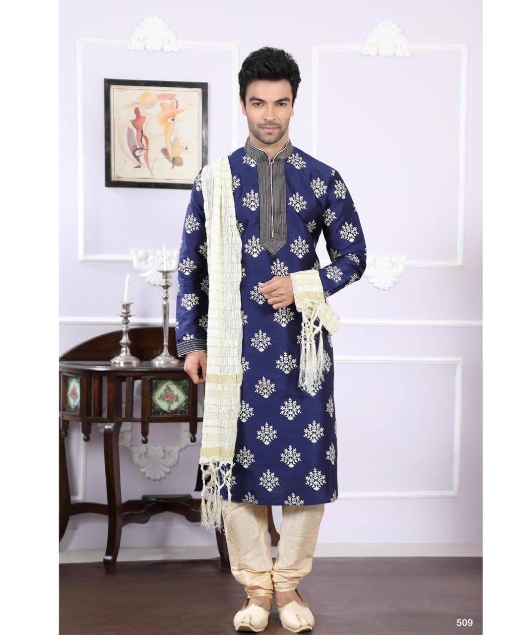 Printed Silk Navyblue Kurta Pajama