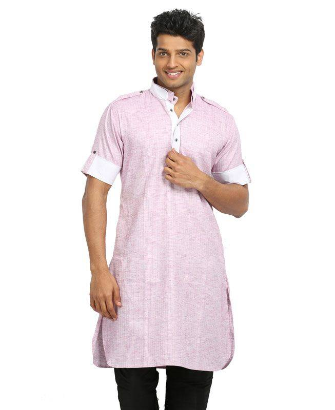 Lace Cotton Pink Mens Kurta Pajama