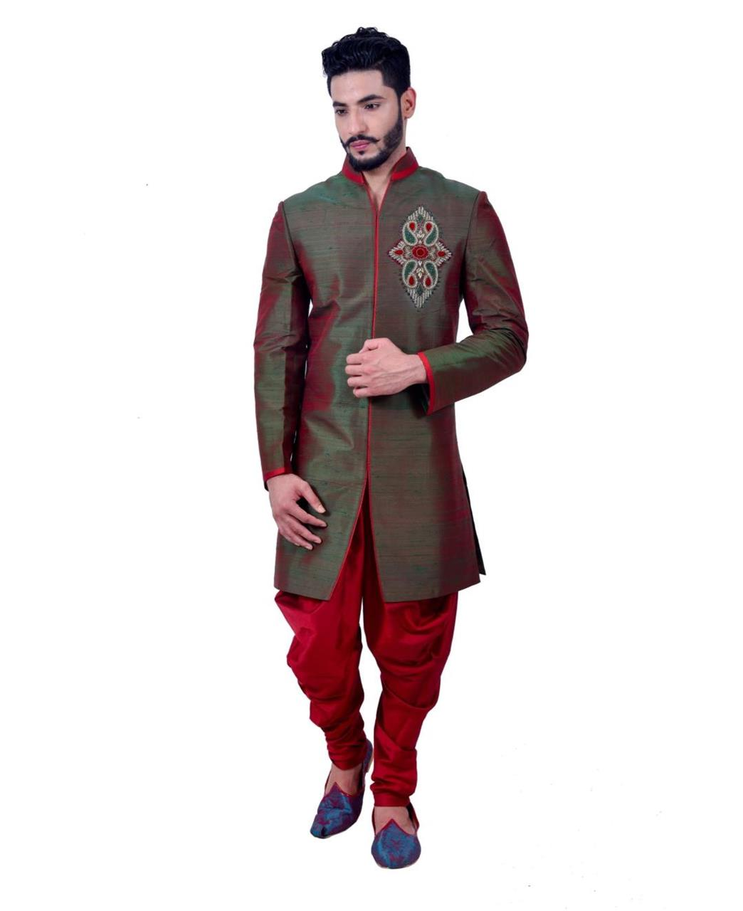Embroidered Silk Green Coats