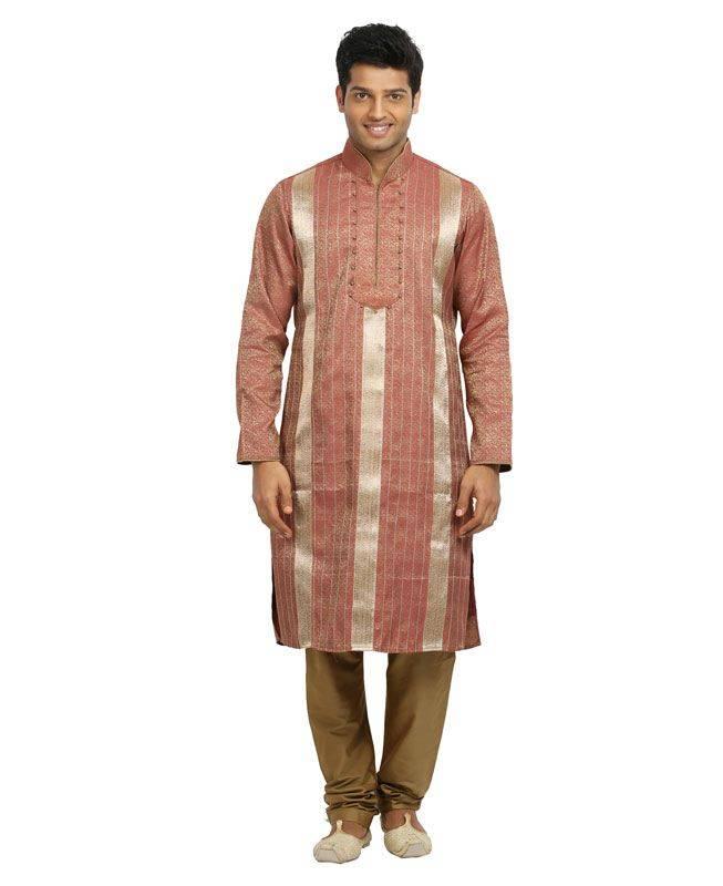 Brocade Patch Silk Pink Mens Kurta Pajama