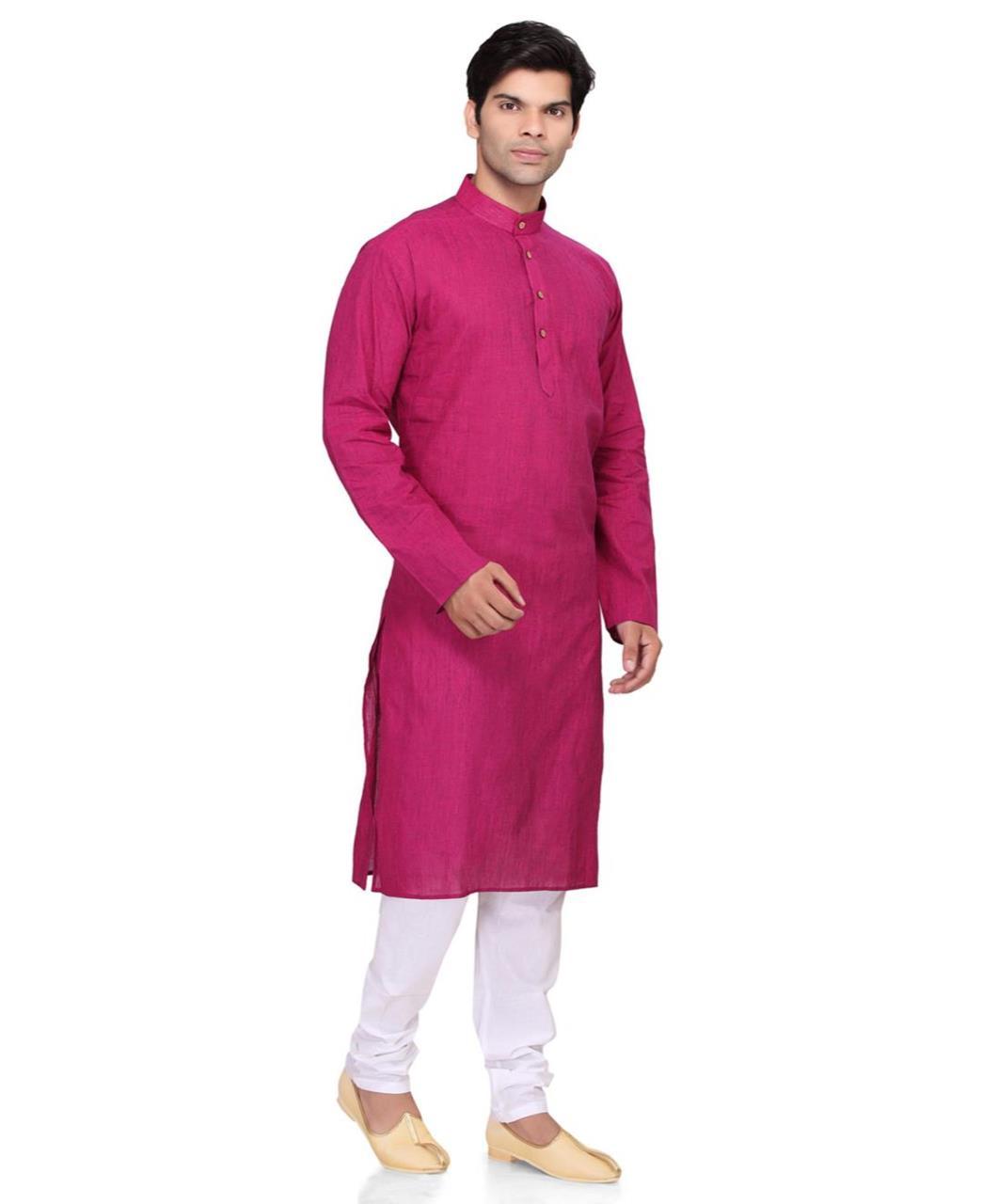 Plain Cotton Pink Kurta