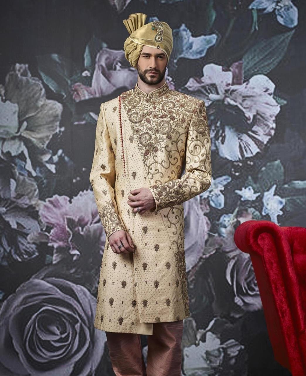 Embroidered Art Silk Gold Kurta Pajama