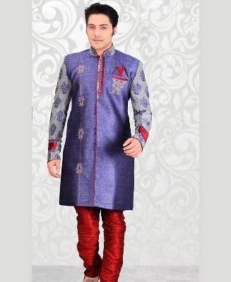 Butta Work Dupion Silk Blue Mens Sherwani