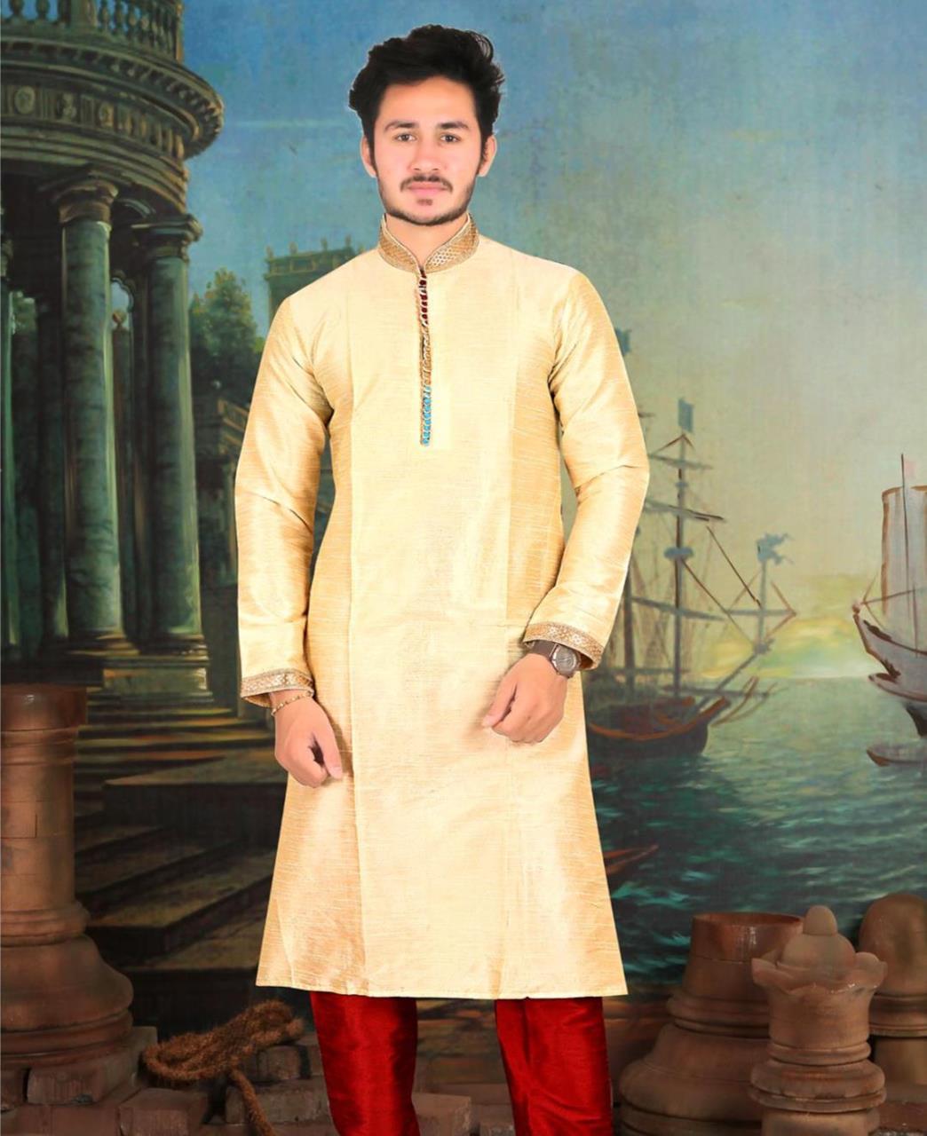 6431fb0371 Printed Dupion Silk Yellow Kurta Pajama
