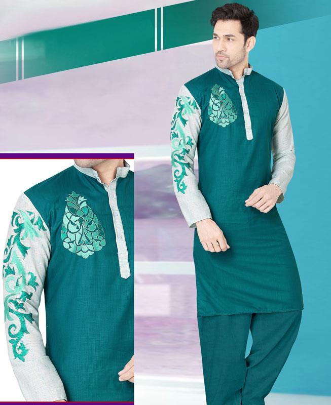 Embroidered Cotton Green Kurta Pajama