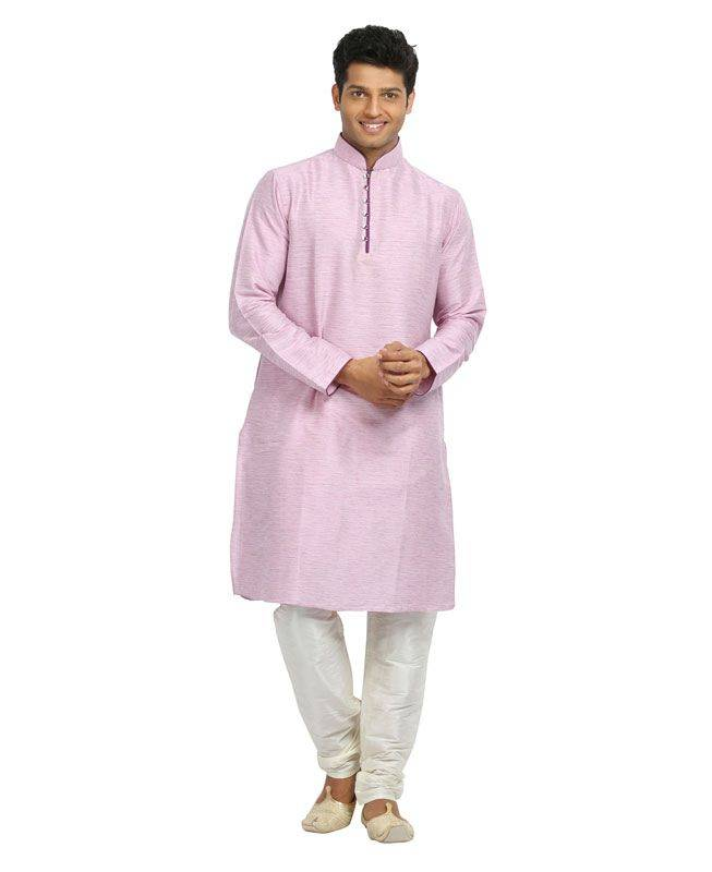 Plain Linen Pink Mens Kurta Pajama