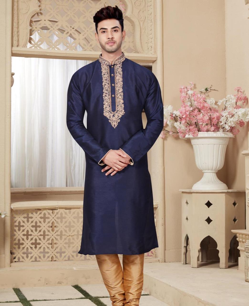 Plain Art Silk Navyblue Kurta Pajama