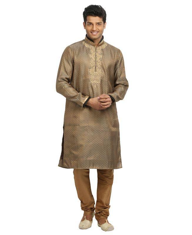 Brocade Patch Silk Brown Mens Kurta Pajama