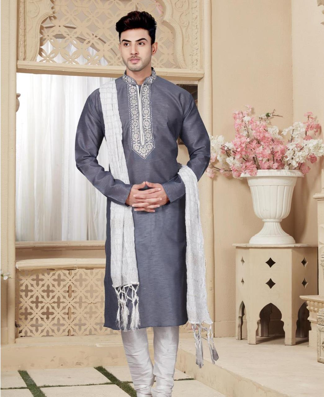 Plain Art Silk Gray Sherwani