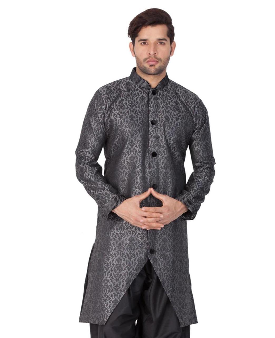 Jacquard Silk Gray Kurta Pajama
