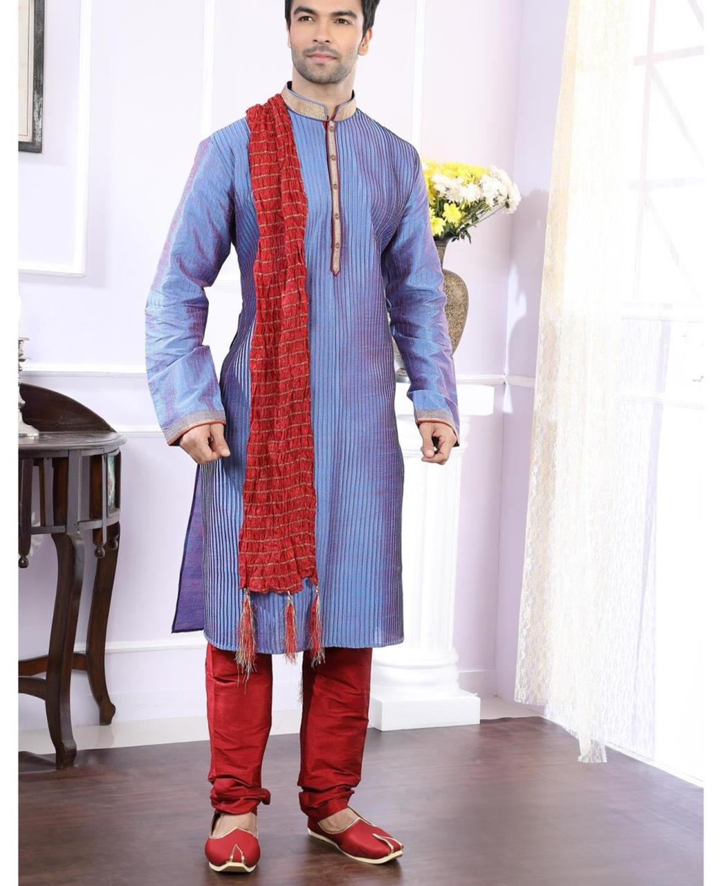 Lace Art Silk Blue Kurta Pajama