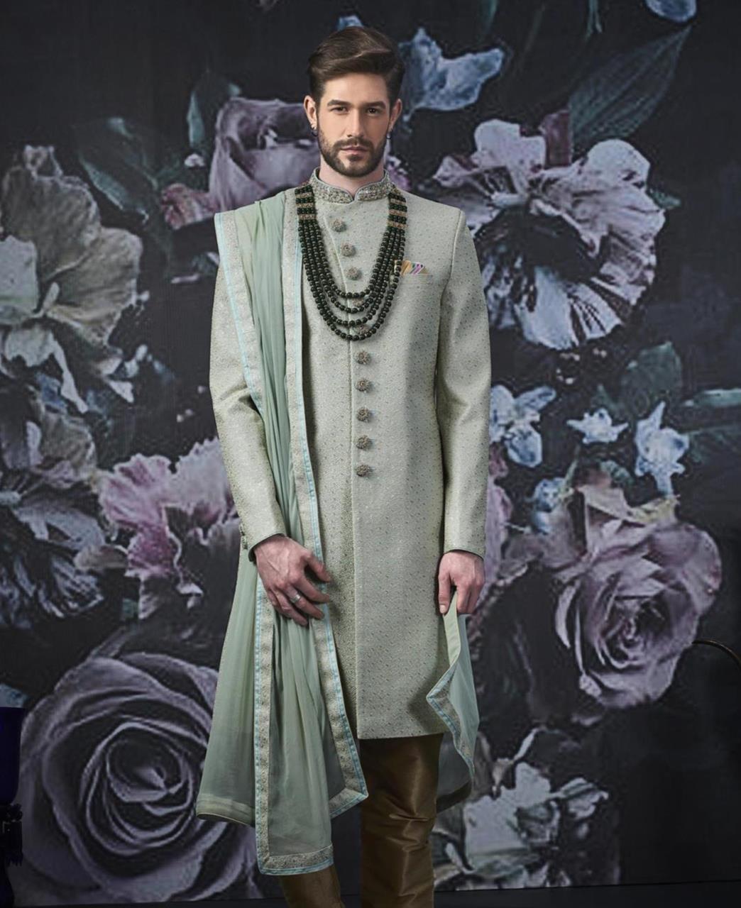 Embroidered Art Silk SEAGREEN Kurta Pajama