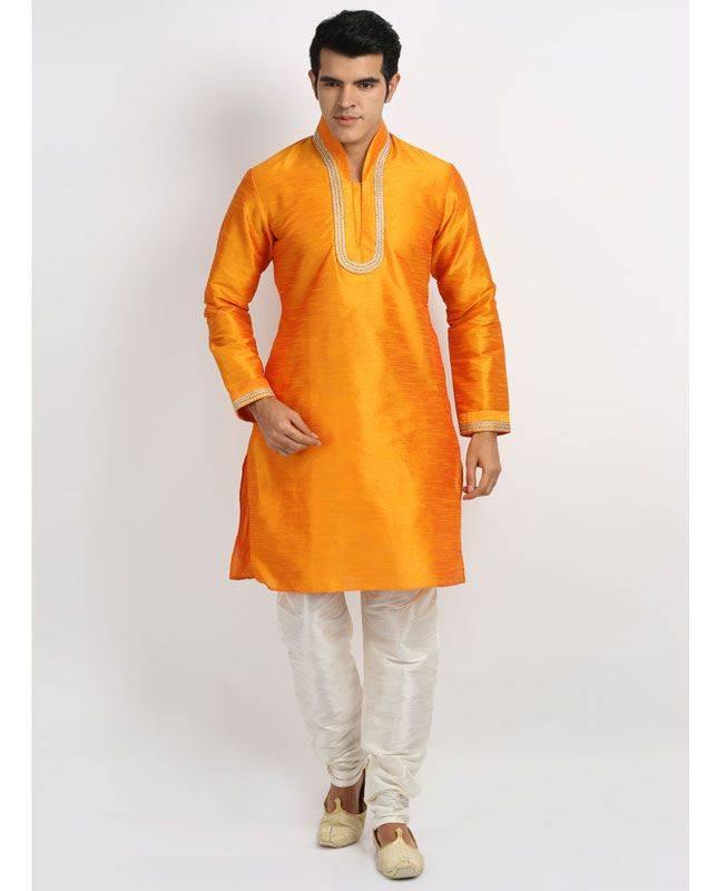 Lace Silk Orange Mens Kurta Pajama