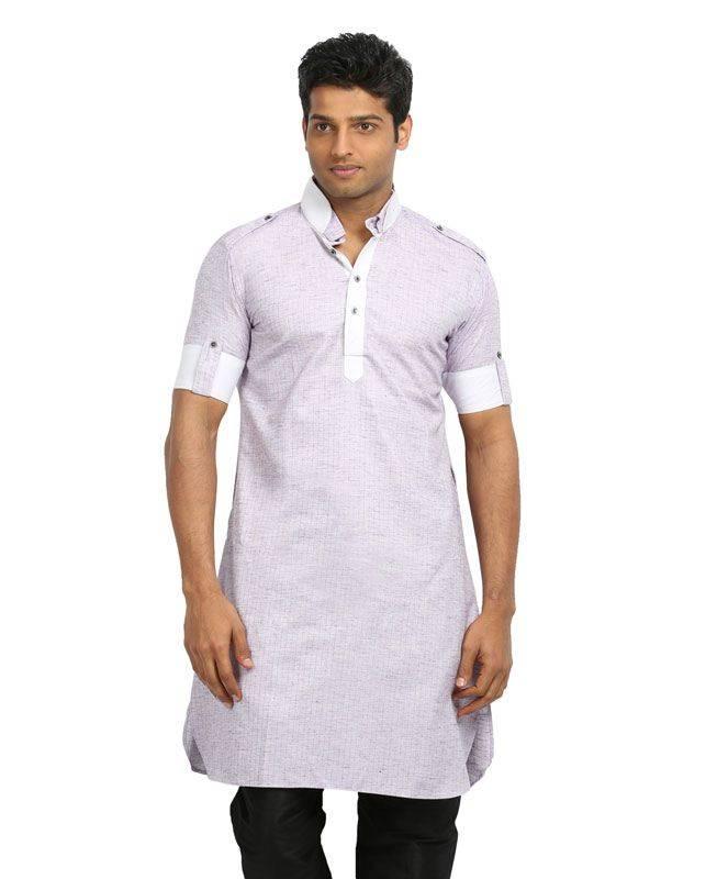 Lace Cotton Lavender Mens Kurta Pajama