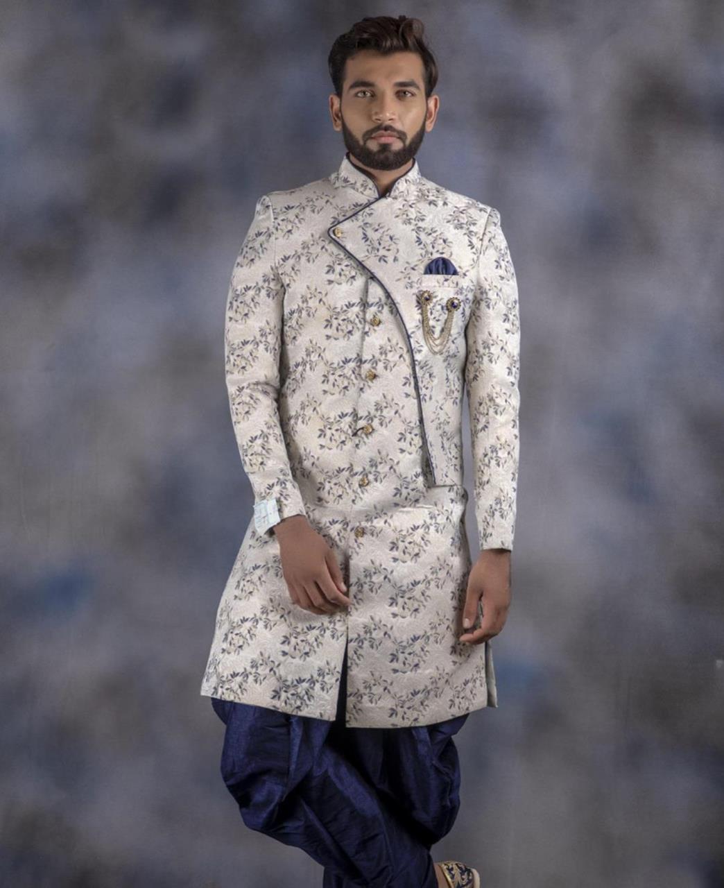 Printed Jacquard Offwhite Kurta Pajama