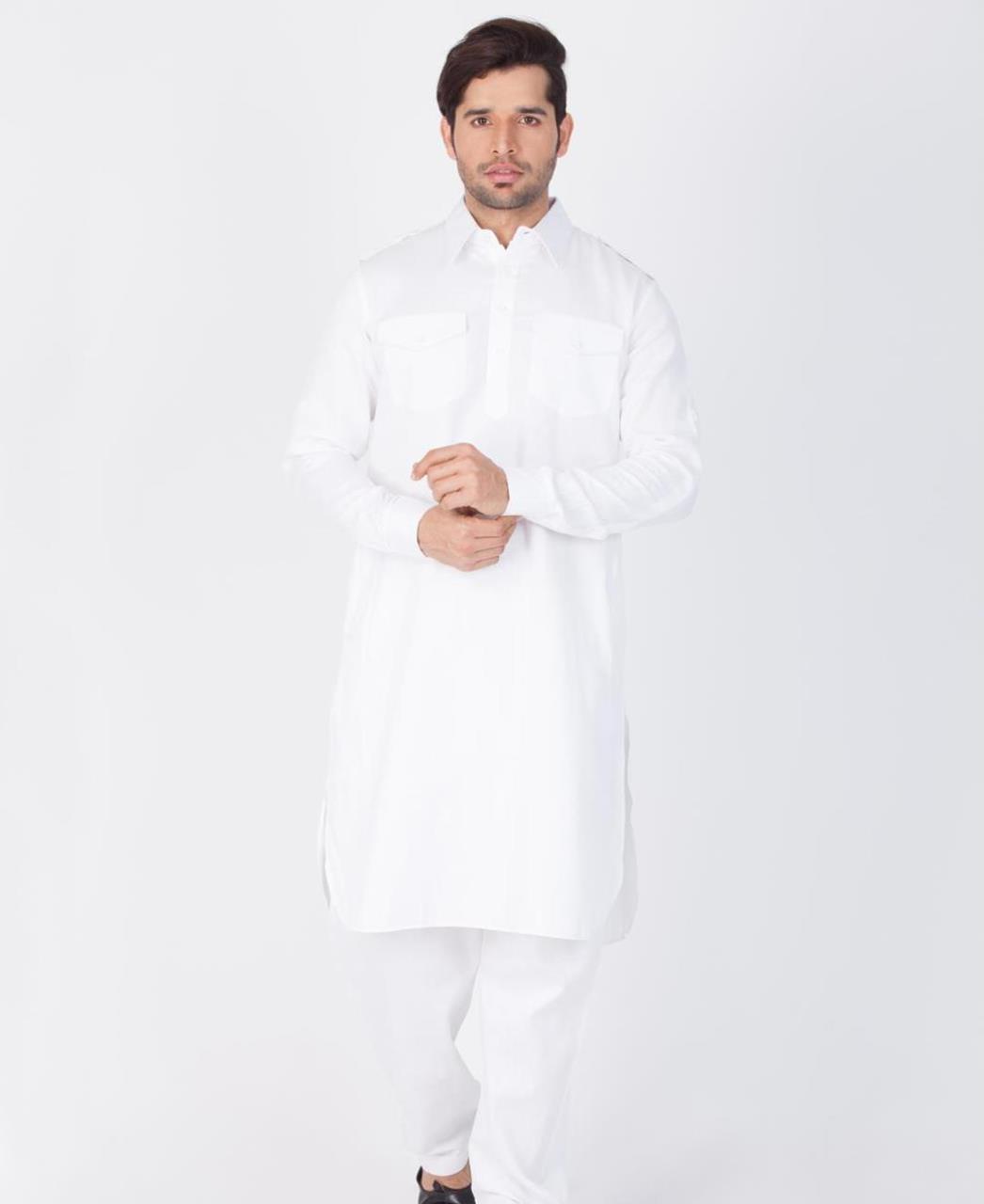 Button Work Cotton White Kurta Pajama