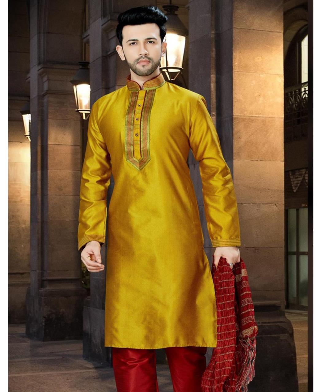 Plain Dupion Silk Gold Sherwani