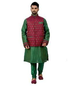 Button Work Silk Green Waist Coats
