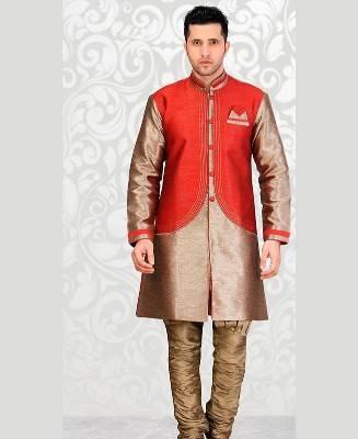 Plain Dupion Silk Red Mens Sherwani