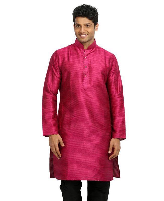 Plain Silk Pink Mens Kurta Pajama