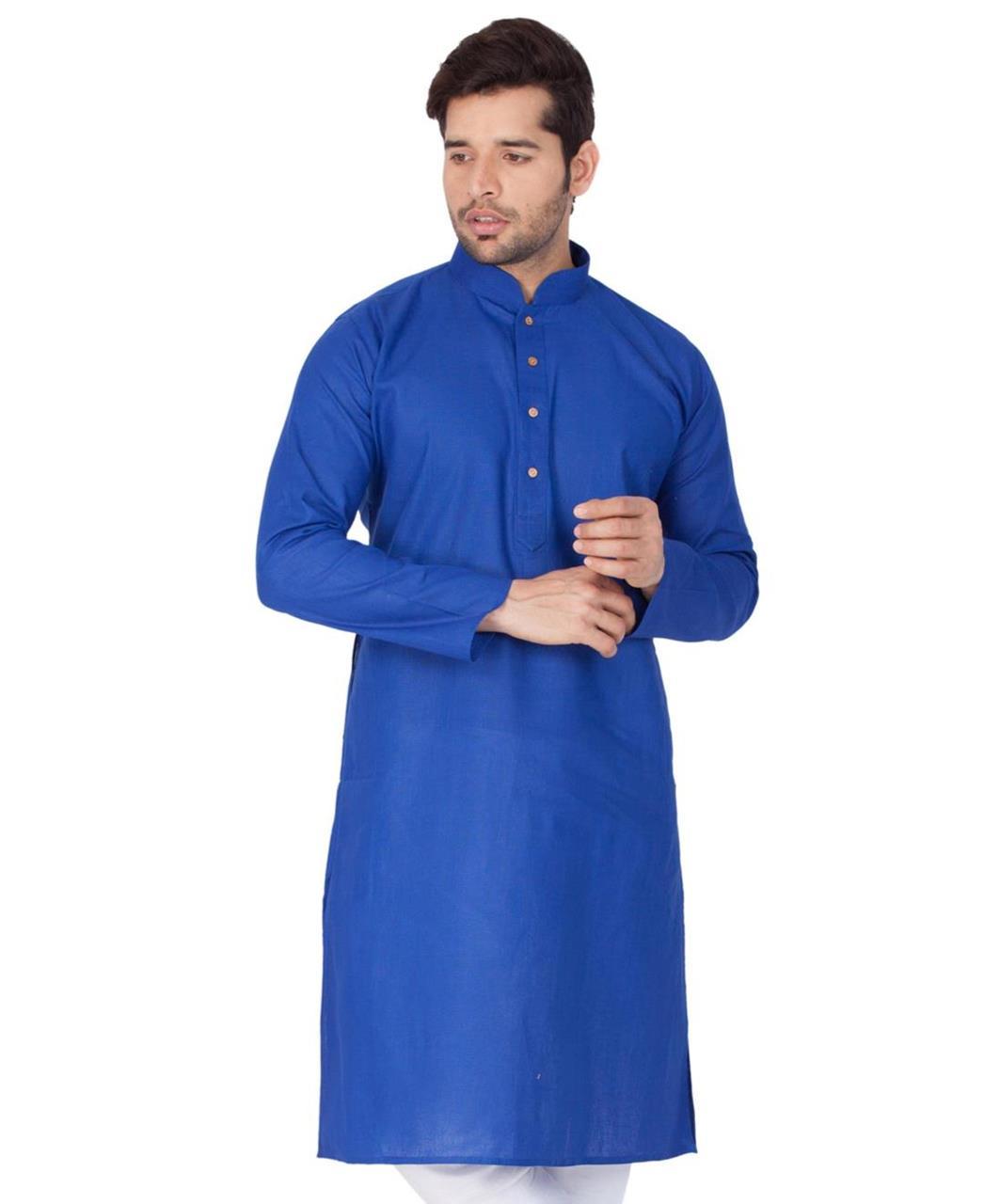 Plain Cotton Blue Kurta Pajama