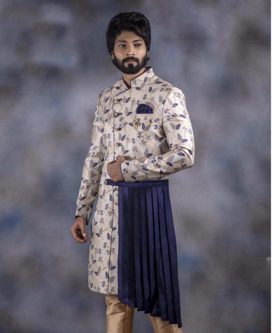 Printed Jacquard White Kurta Pajama