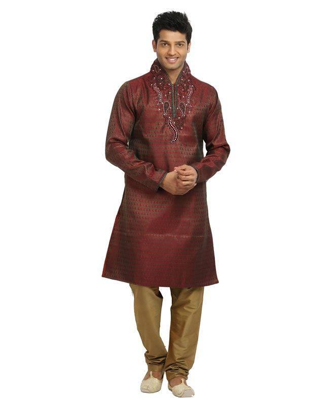 Brocade Patch Silk Maroon Mens Kurta Pajama