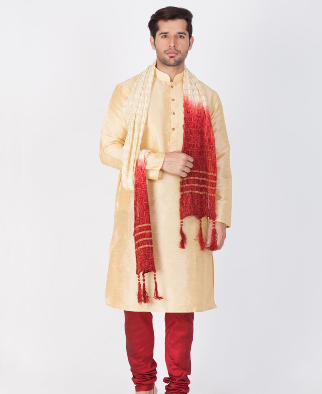 Plain Cotton Gold Sherwani