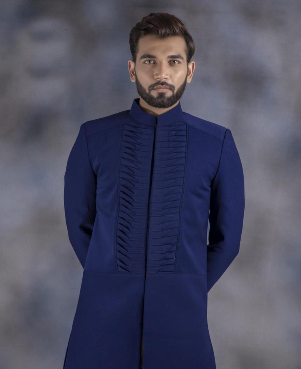 Plain Cotton Navyblue Kurta Pajama