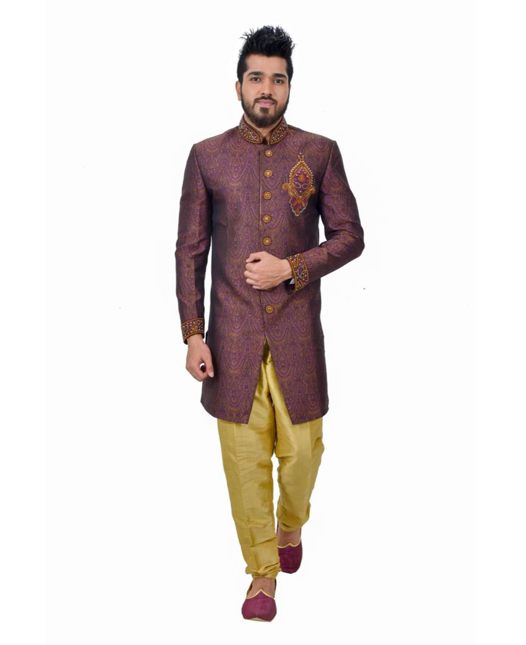 Embroidered Silk Purple Coats