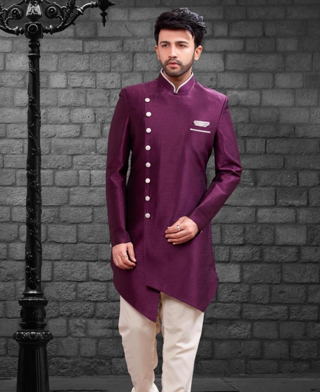 Plain Silk Purple Kurta Pajama