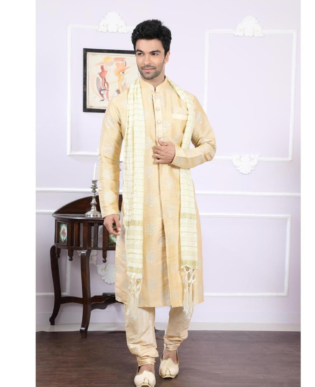 Printed Silk Gold Kurta Pajama