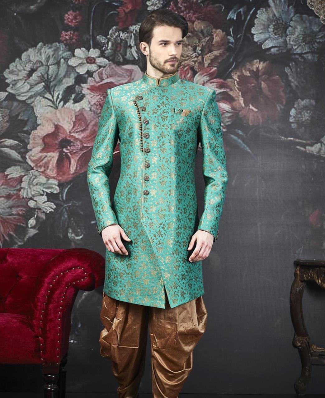 Embroidered Jacquard Turquoise Kurta Pajama