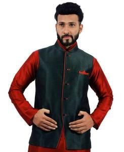 Plain Raw Silk Green Mens Waist Coats