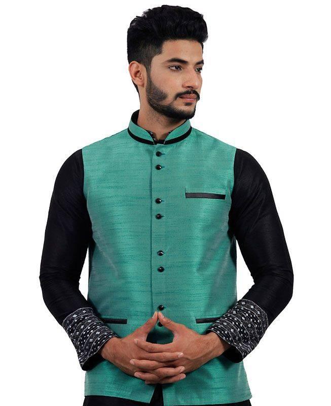 Plain Raw Silk Green Mens Waist Coats