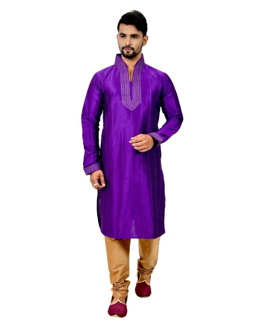 Cord Work Art Silk Purple Kurta