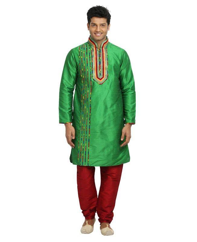 Plain Silk Green Mens Kurta Pajama