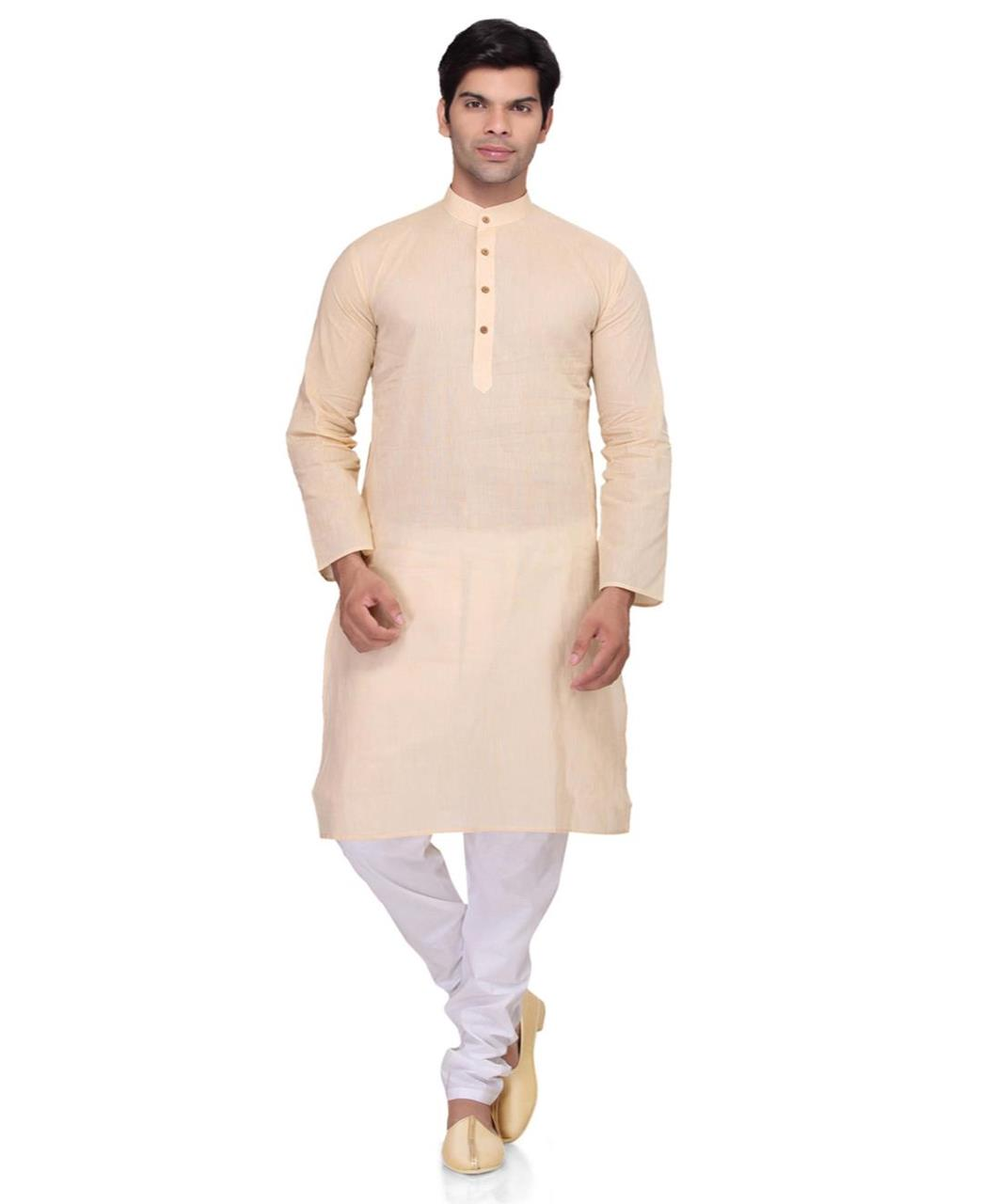 Plain Cotton Beige Kurta