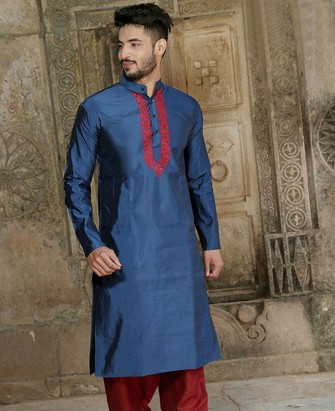 Embroidered Silk Blue Kurta Pajama