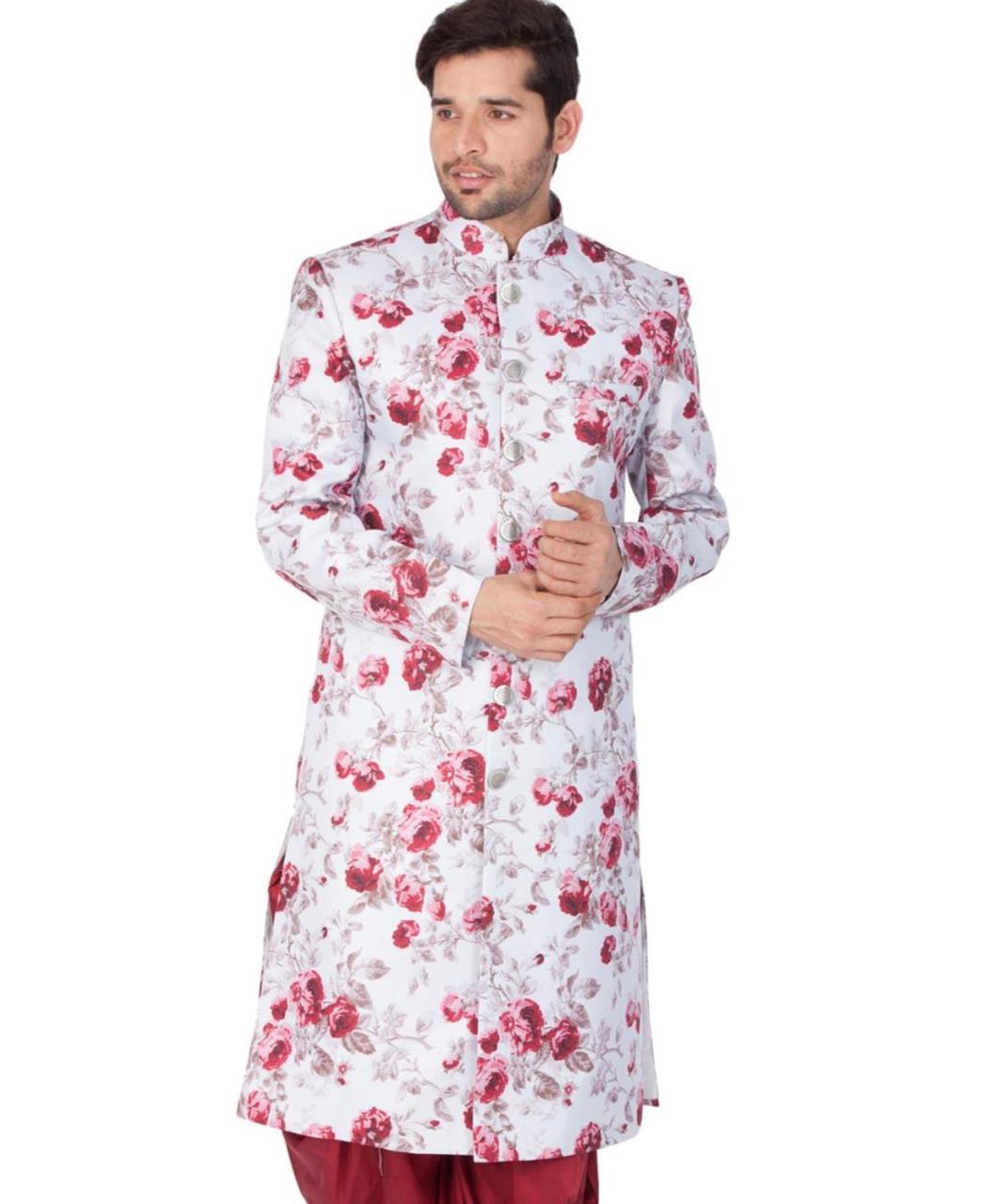 Floral Print Blended Cotton Offwhite Kurta Pajama