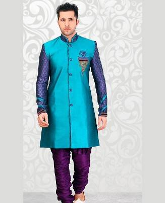 Beads Dupion Silk Blue Mens Sherwani