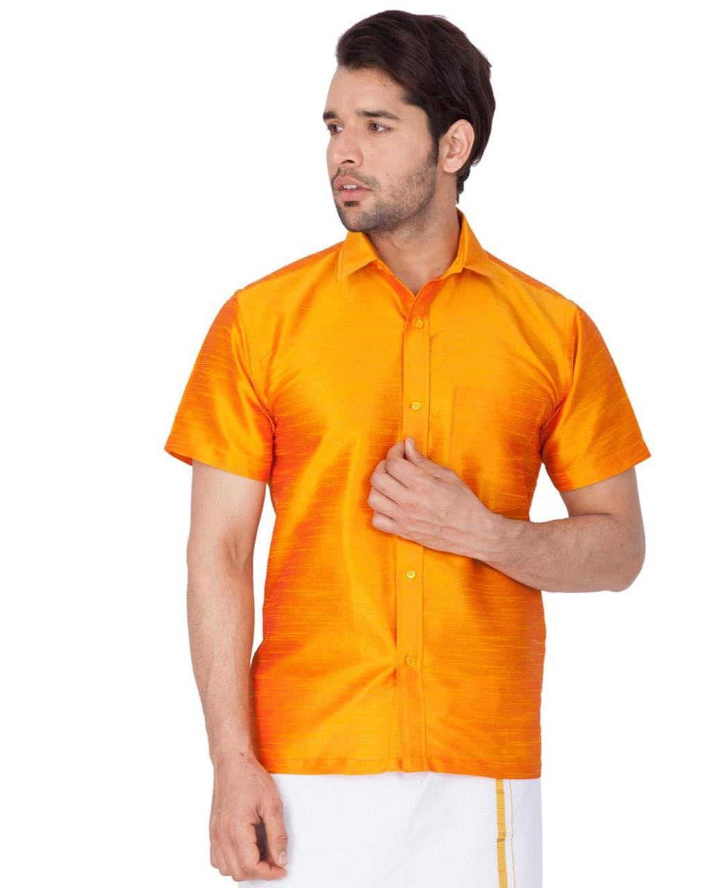 Plain Cotton Orange Dhoti