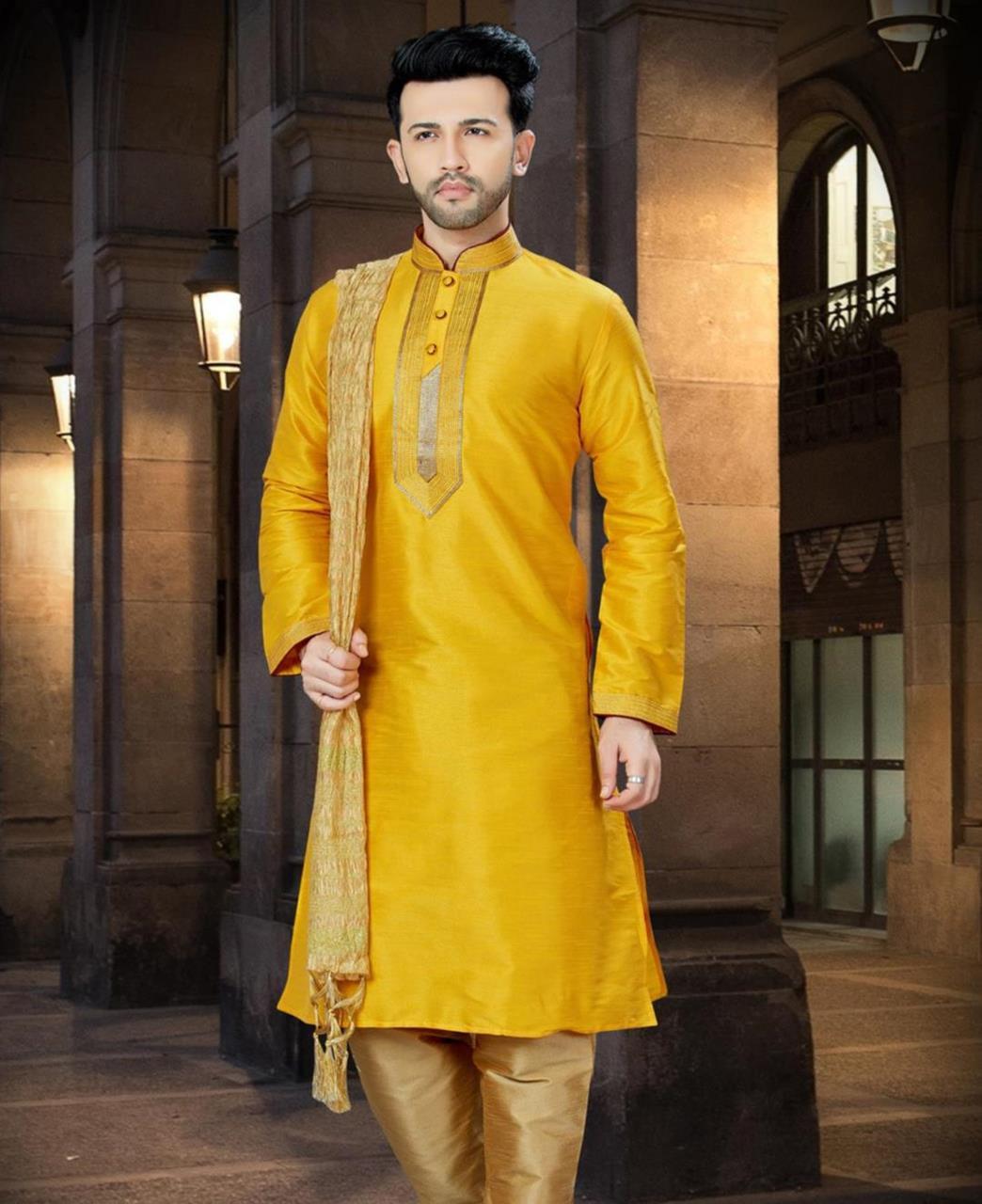 Plain Dupion Silk Yellow Sherwani