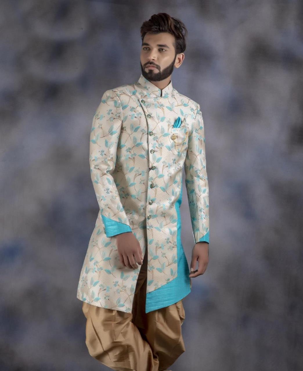 Printed Jacquard Cream Kurta Pajama