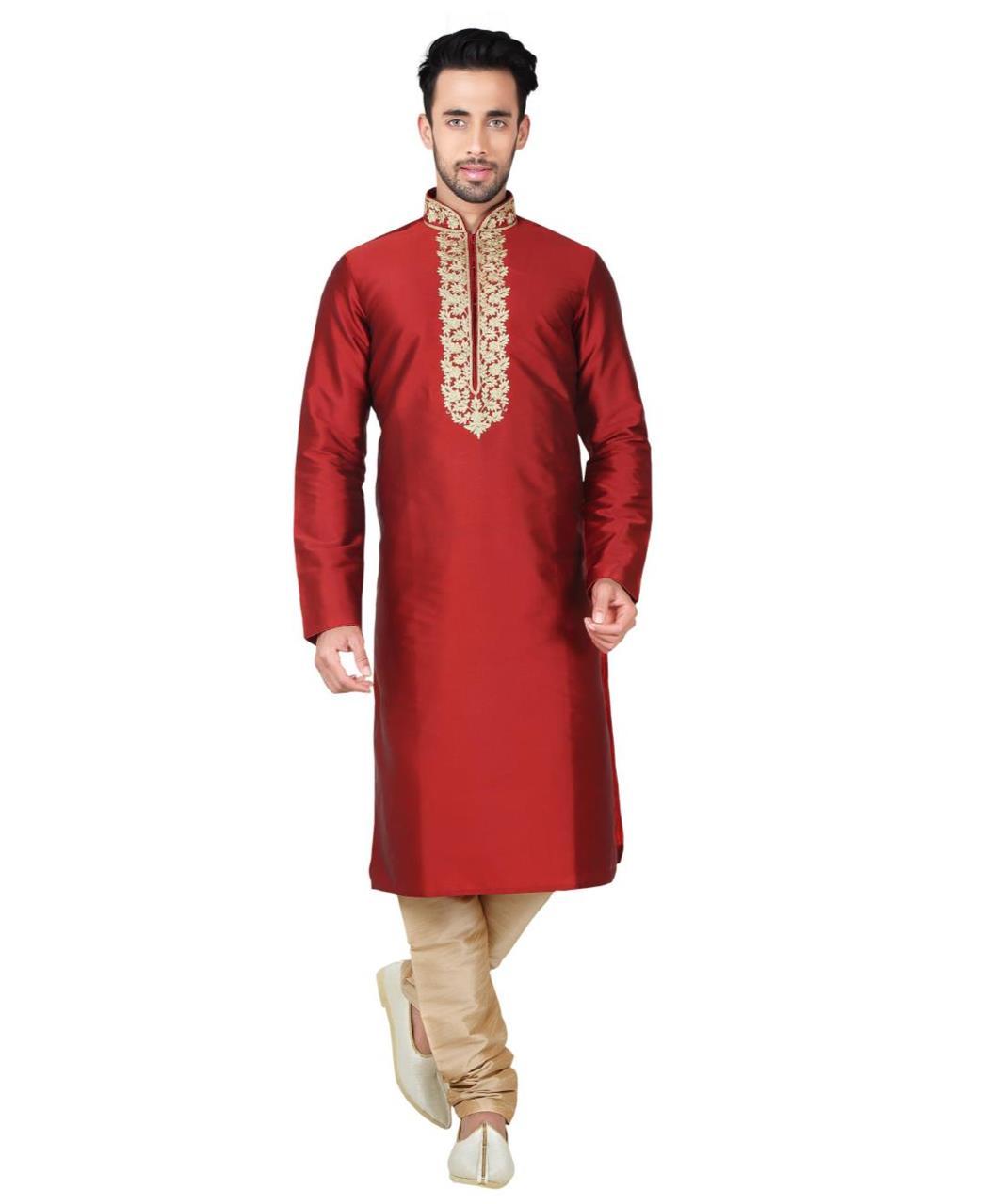 d1fb701be4 Embroidered Bangalore Silk Maroon Kurta Pajama