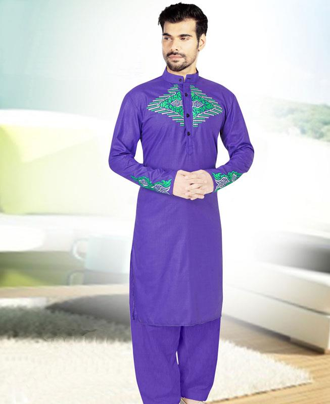 Embroidered Cotton Blue Kurta Pajama